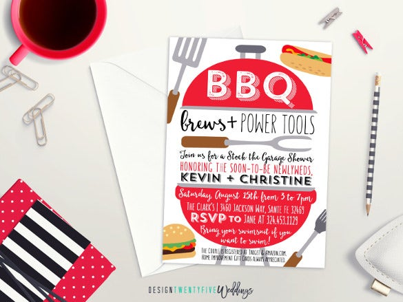 bbq brews power tools wedding shower invitation custom personalized bbq invitation