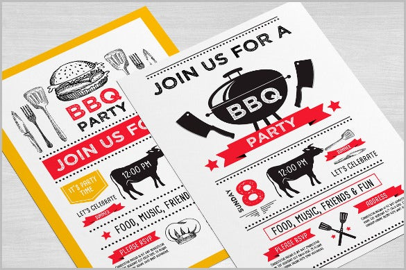red barbecue invitation template