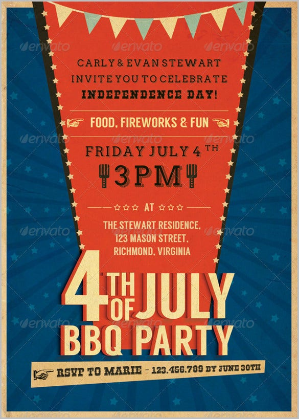 blue color july retro bbq invitation template