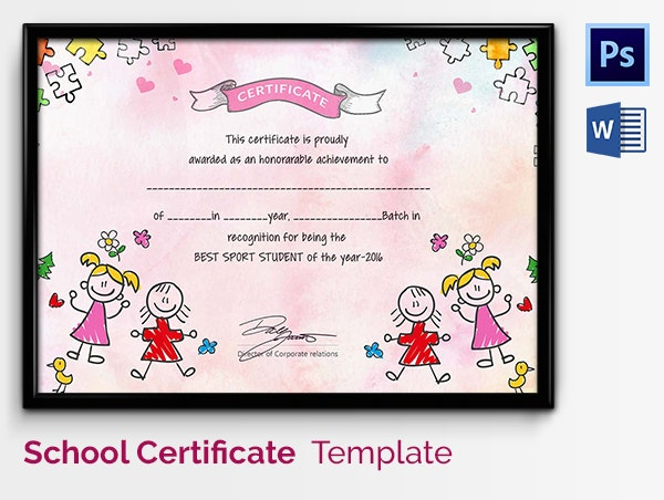 Preschool certificate template 18 free word pdf psd for Student of the year award certificate templates