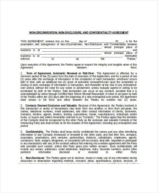 Non disclosure and confidentiality agreement 8 free for Non circumvention non disclosure agreement template