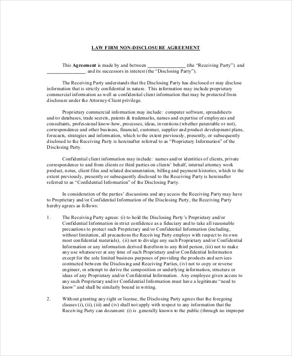Non Disclosure and Confidentiality Agreement – 8+ Free Word, PDF ...