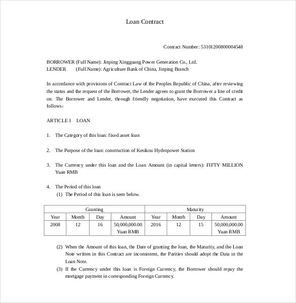 Doc Loan Contract Template Word   Loan Agreement