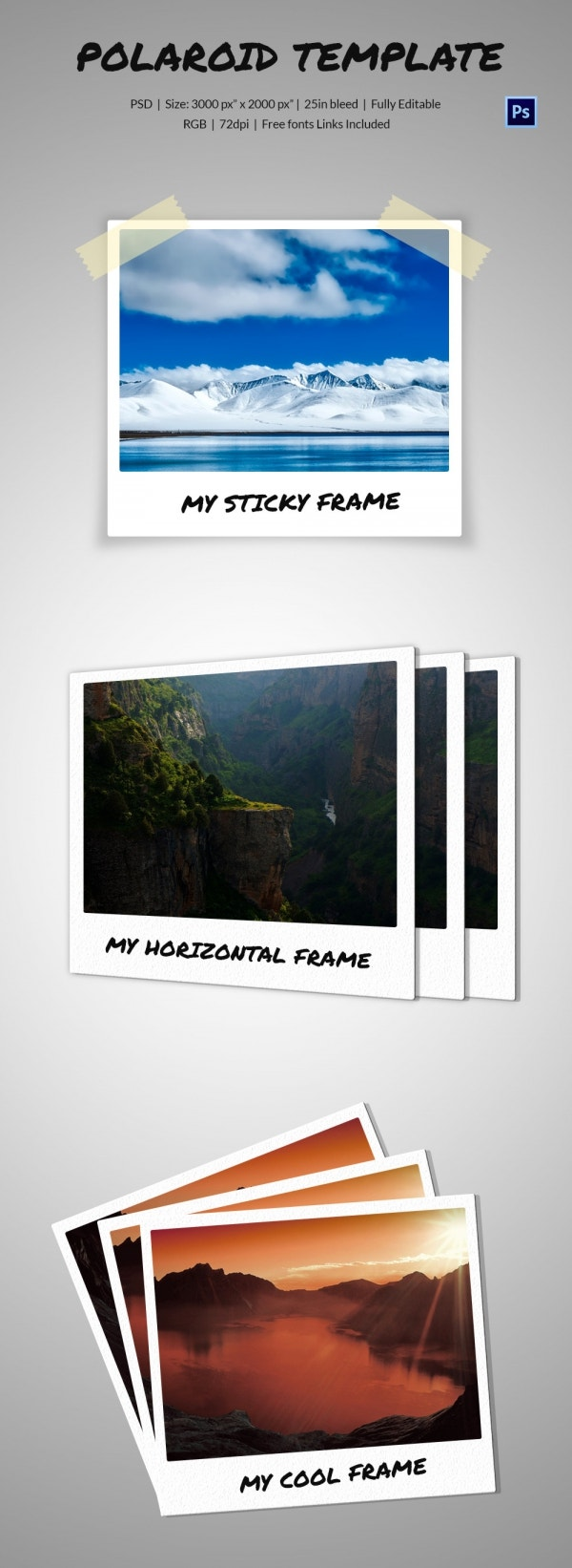 Polaroid Photos on 3 Scenes Mock-up Template