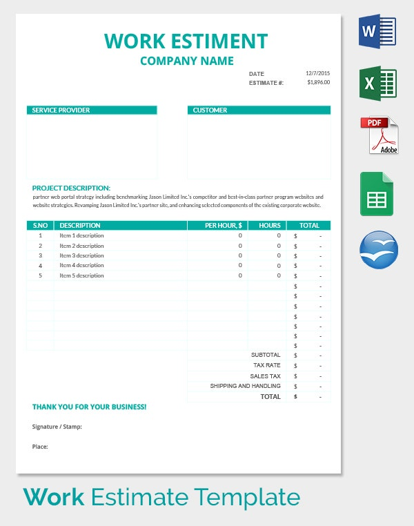 Blank Estimate Template 23 Free Word PDFExcelGoogle Sheets – Templates for Estimates