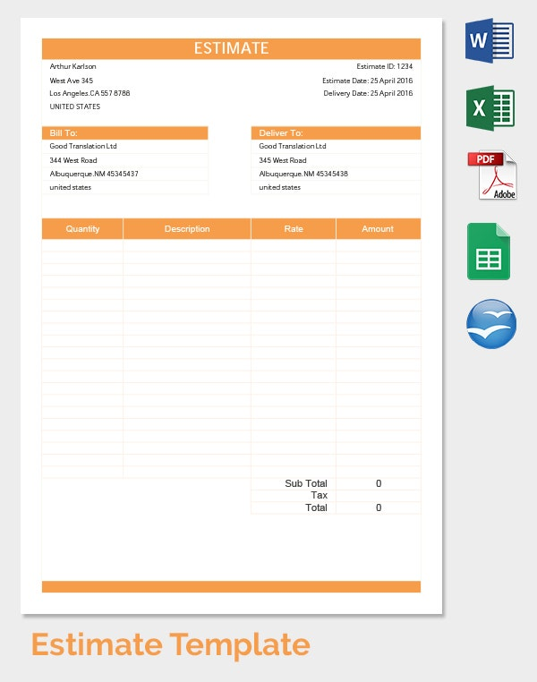 Blank Estimate Templates PDF DOC Excel ODT Free Premium - Moving estimate template