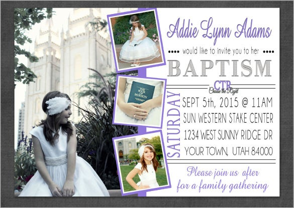girl baptism invitation or announcement purple customized card