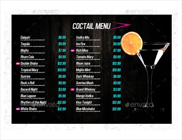 coctail drink menu template