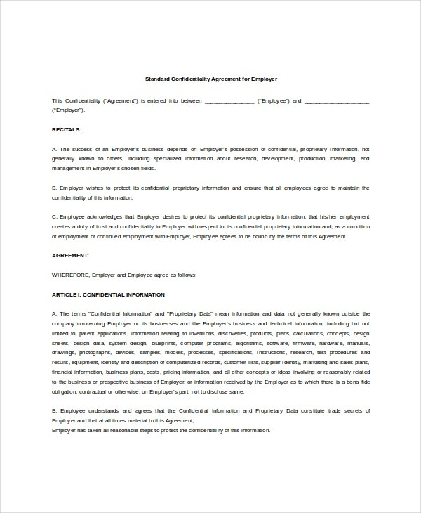 Standard Confidentiality Agreement   Free Word Pdf Documents