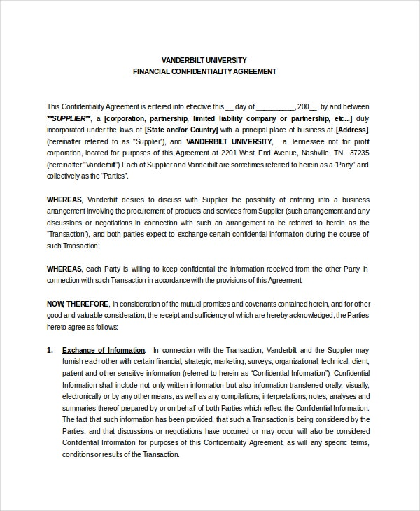Financial Detail Confidentiality Agreement
