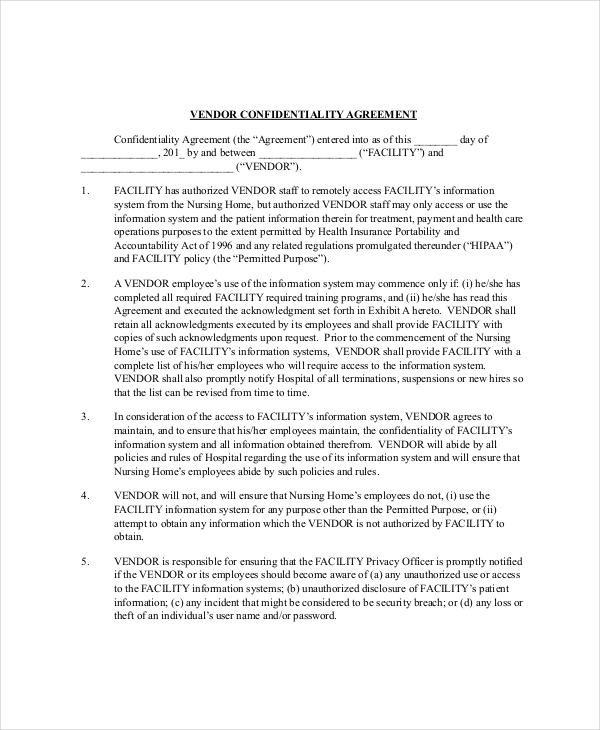 Vendor Confidentially Agreement Template