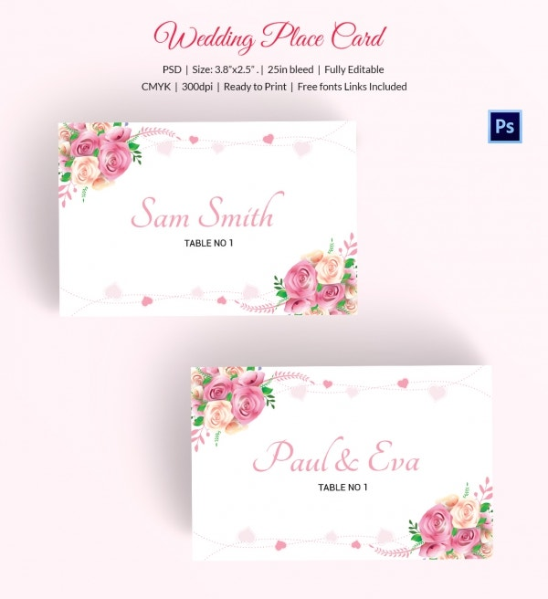 25 wedding place card templates free premium templates for Free place card template