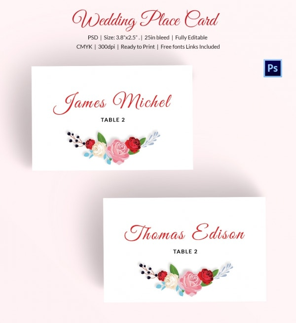 Wedding Place Card Template - 20+ Free Printable Word, PDF, PSD ...