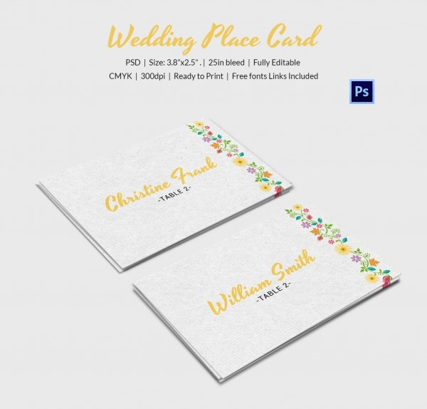 multi place wedding name card