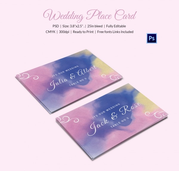 Wedding Place Card Templates Free Premium Templates - Wedding invitation templates: wedding place card size