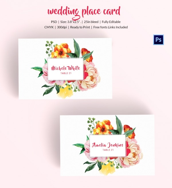 Watercolor Wedding Place Card Design