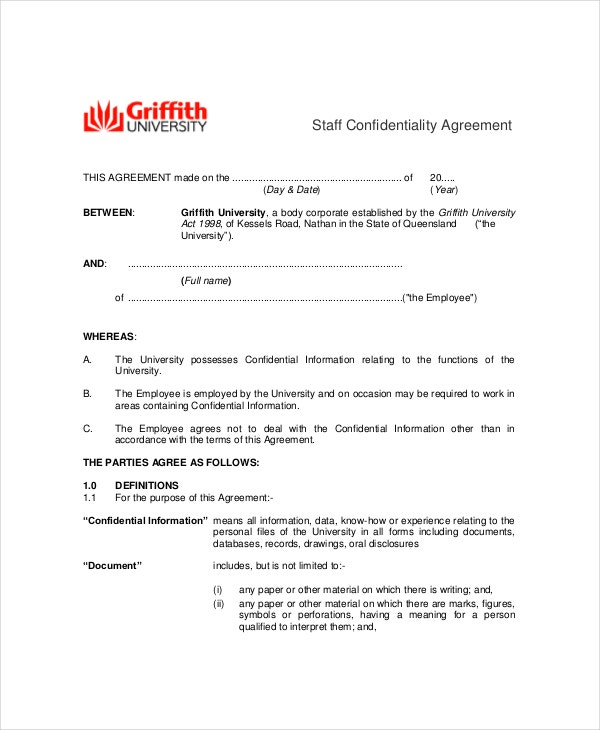 basic staff confidentiality agreement