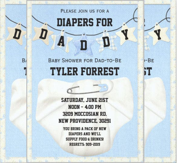 Crafty image regarding free printable diaper party invitation templates