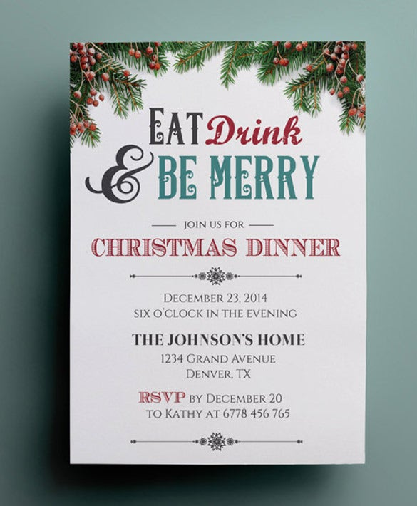 Dinner invitation template 44 free psd vector eps ai format christmas dinner invitation template stopboris