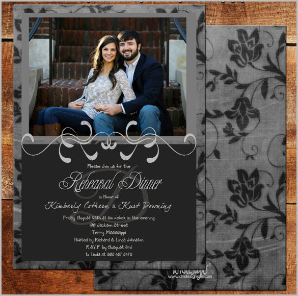 wedding rehearsal dinner winter paper invitation card