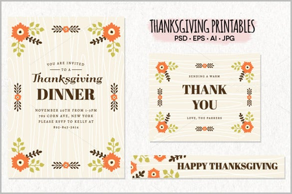 thanksgiving dinner invitation bundle