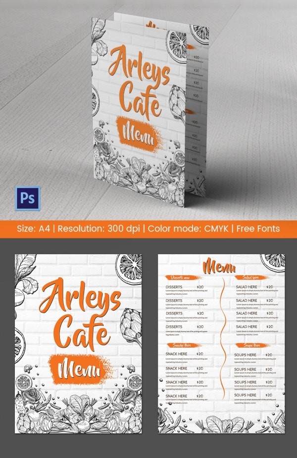 Arleys Cafe Menu Template Photoshop PSD Download