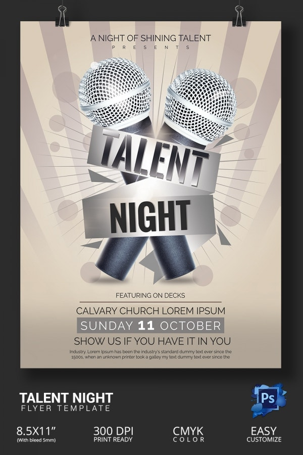 Amazing Talent Show Flyer Templates Psd  Free  Premium