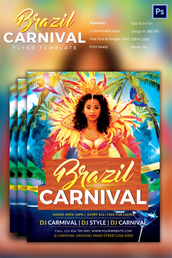 Brazil Carnival PSD Flyer Template