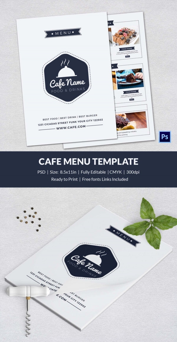 cafe menu template 40 free word pdf psd eps indesign format download free premium. Black Bedroom Furniture Sets. Home Design Ideas
