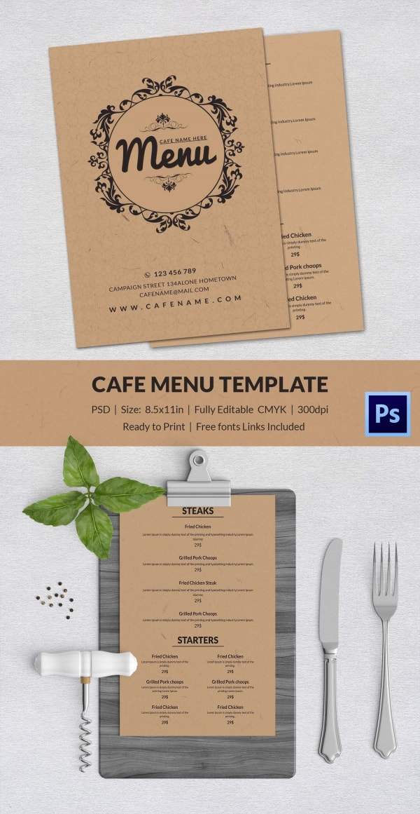 Cafe menu template 40 free word pdf psd eps for Cafe menu design template free download