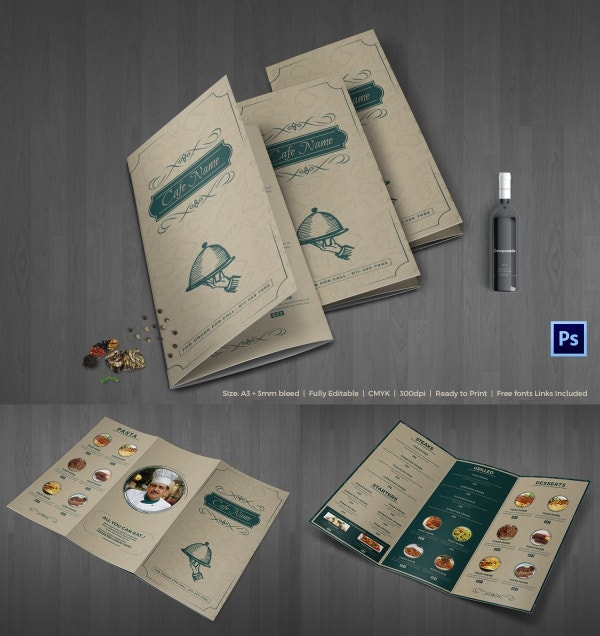 Cafe Menu Trifold Template PSD Editable Download