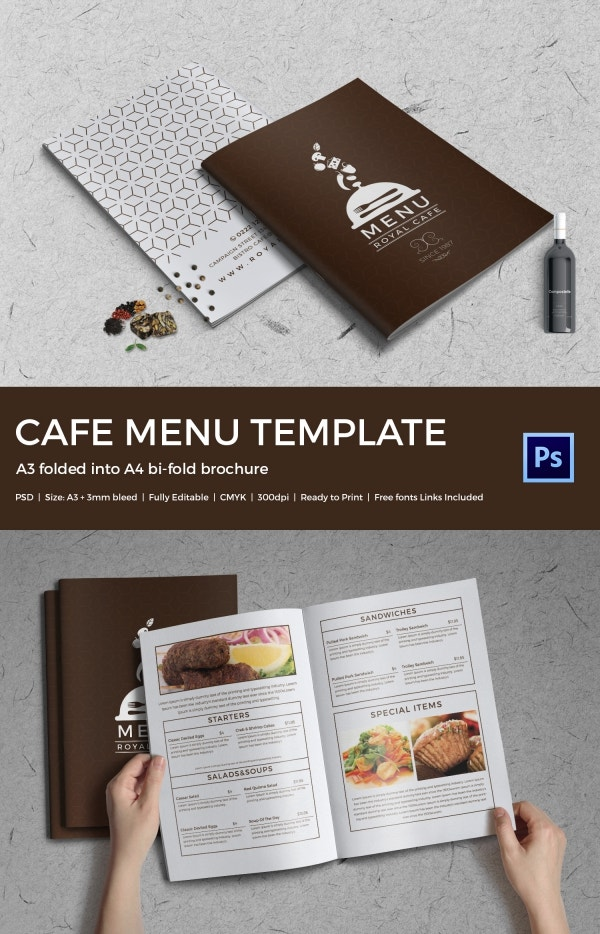 Cafe menu template 40 free word pdf psd eps for Indesign bi fold brochure template