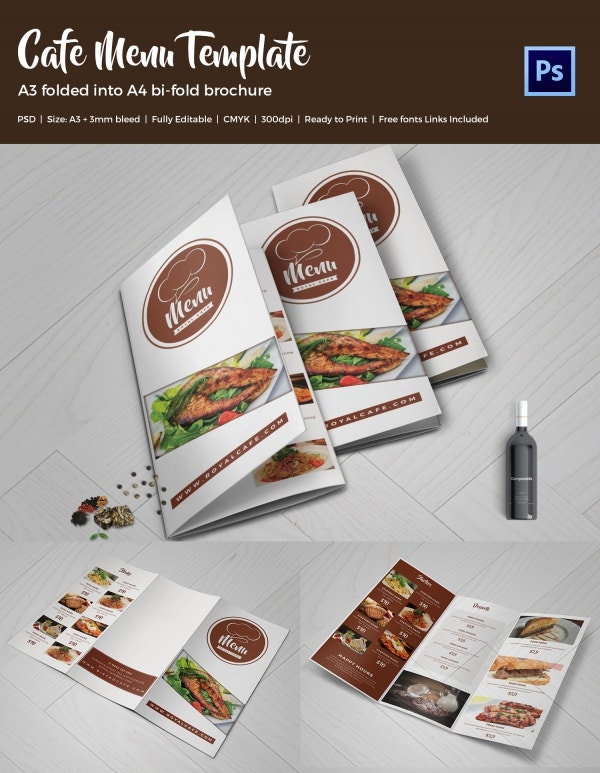 Cafe Tri-Fold Brochure Menu Template