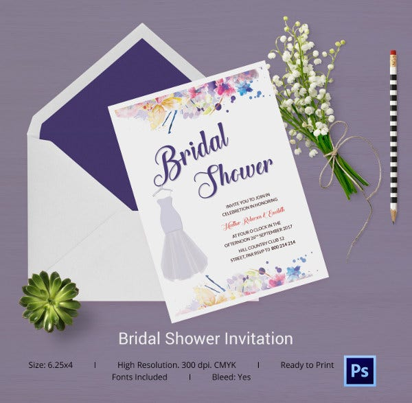 25 Bridal Shower Invitations Templates PSD Invitations Free