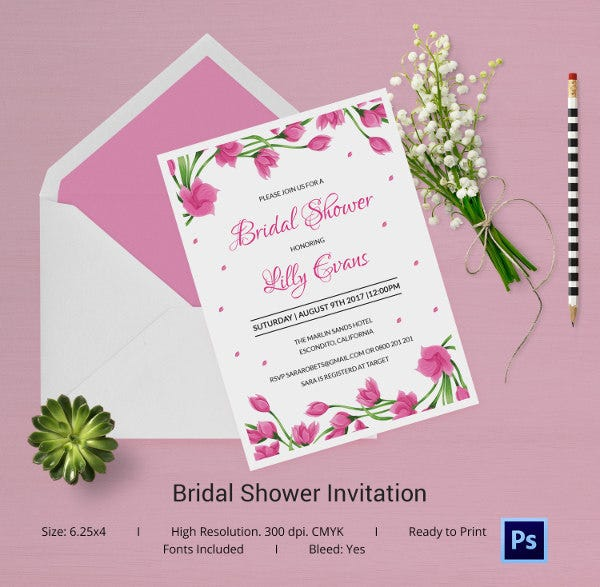 25 bridal shower invitations templates psd invitations for Free bridal shower templates