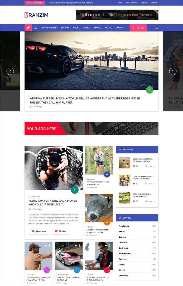 fabulous blog psd template