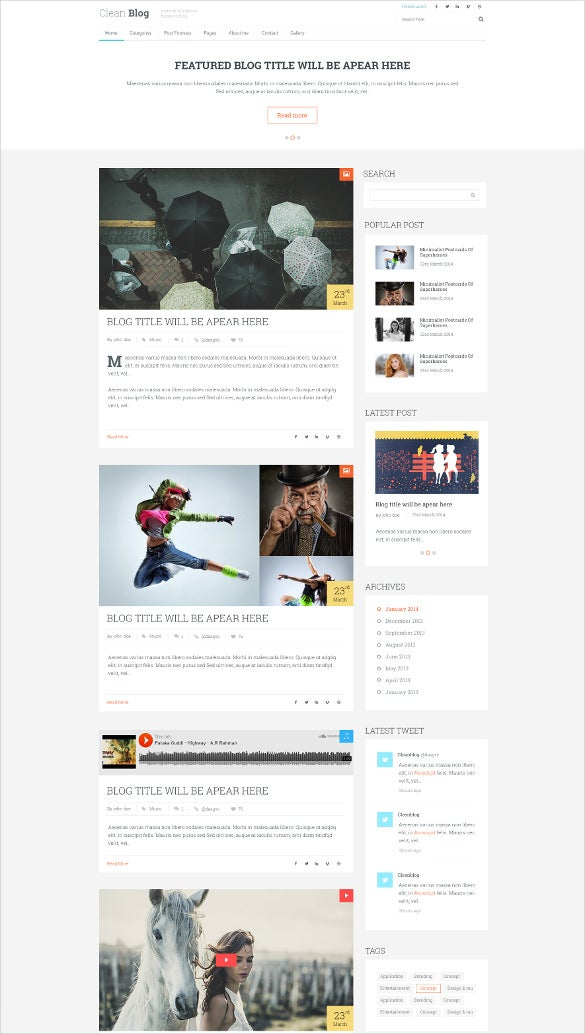clean blog psd template
