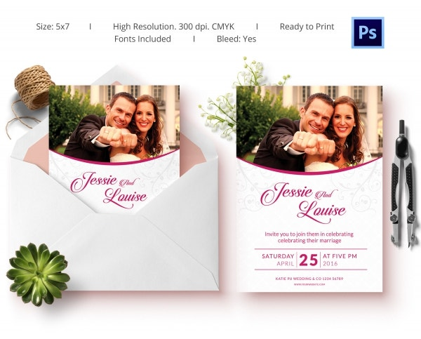 Pink Wedding Invitation Template
