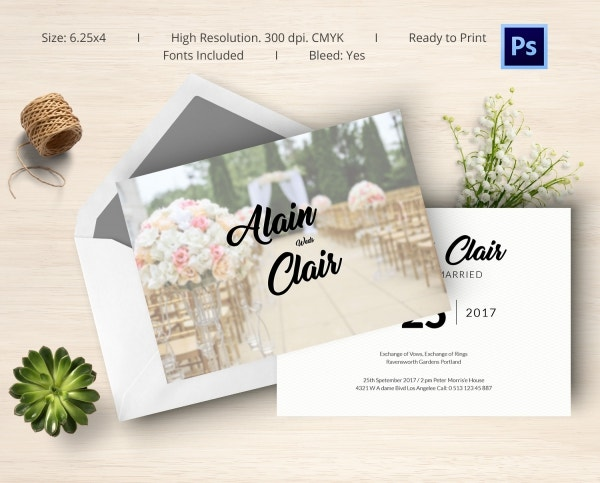 Simple & Clear Wedding Card Template For Download