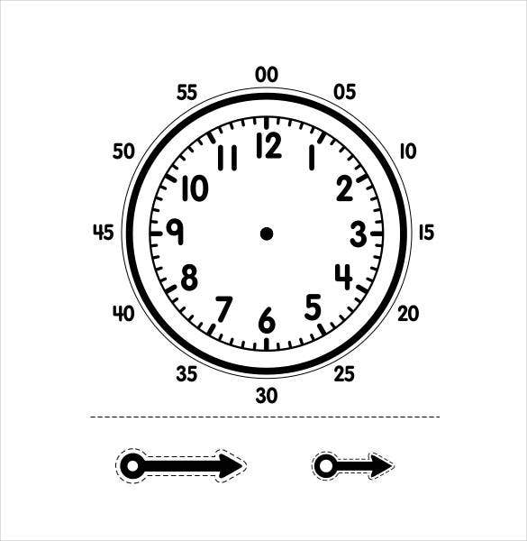 Printable Clock Templates   Free Word Pdf Format Download
