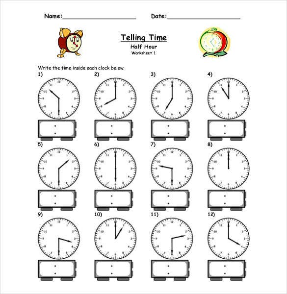 printable clock template worksheet