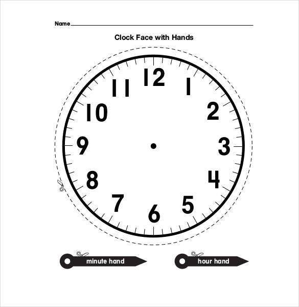 graphic relating to Printable Clock Face With Hands called 17+ Printable Clock Templates - PDF, Document Absolutely free Top quality