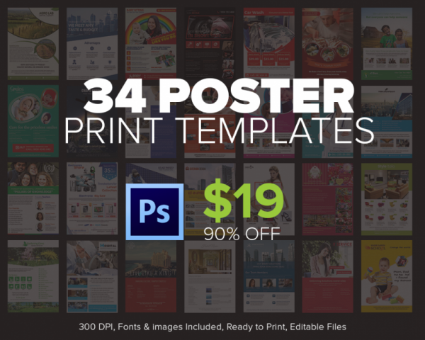 34 poster templates bundle