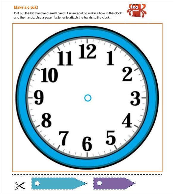 17 printable clock templates pdf doc free premium for Printable clock hands template
