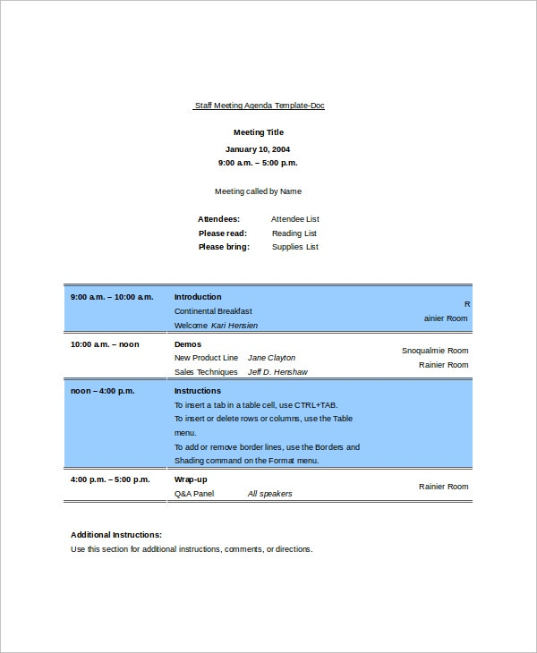 Sample Staff Blank Meeting Agenda Template  Blank Meeting Agenda Template