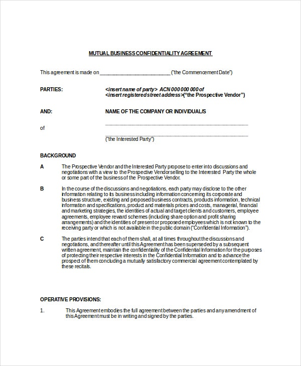 10+ Business Confidentiality Agreement Templates – Free Sample