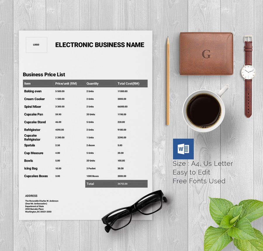general business price list template free download