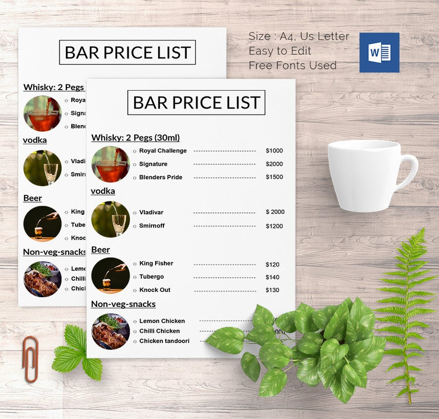 Price List Template   Free Word Excel Pdf Psd Format