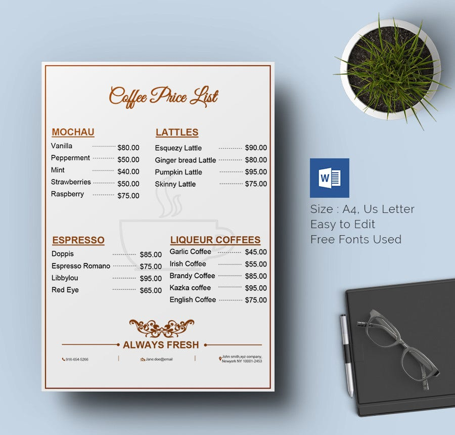 Price List Template   Free Word Excel Pdf Psd Format Download