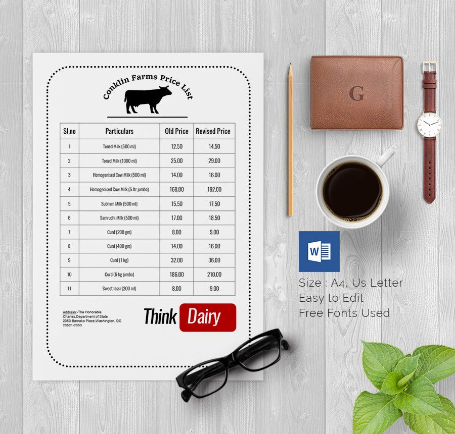 Dairy Farm Price List Template